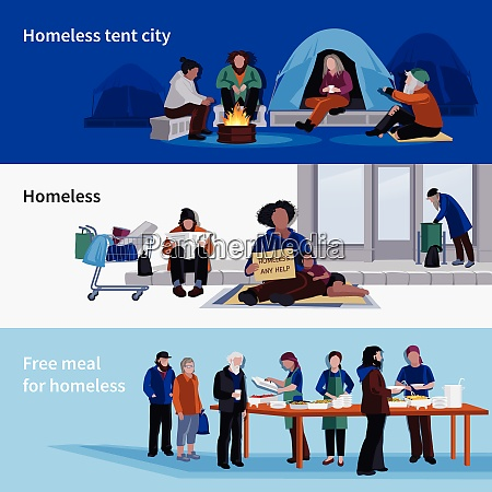 homeless people horizontal banners asylum for