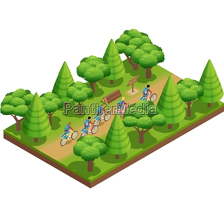 camping hiking isometric composition tourists go