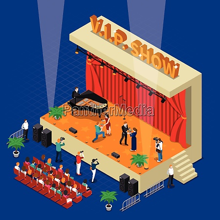 vip show isometric design with celebrities