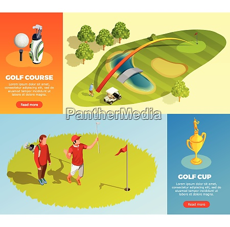 golf isometric horizontal banners with decorative