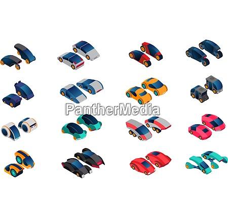 futuristic cars isometric icons set of
