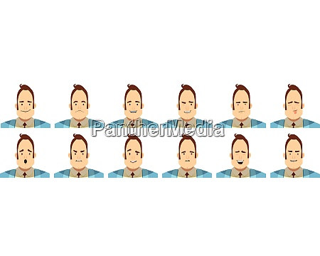 set of avatars with male emotions