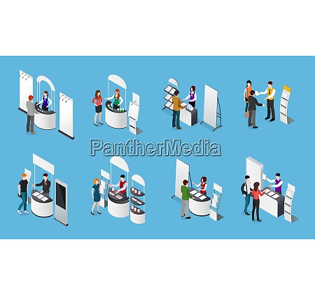 isometric set of promotional stands and