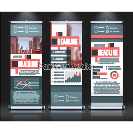 rollup banners template set with three