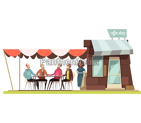 family in coffee shop design composition