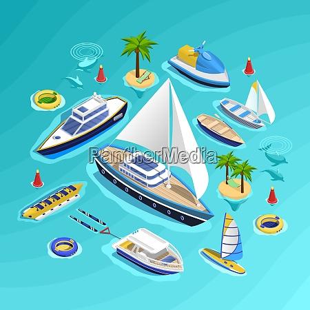 sea tourism conceptual composition with set