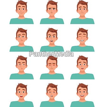 male avatar cartoon guy character set