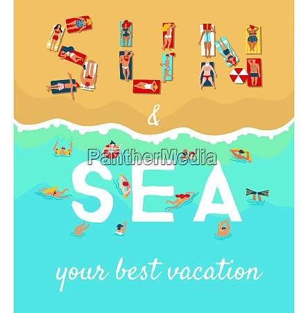 summer sea beach vacation flat advertising