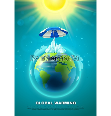 global warming poster with planet earth