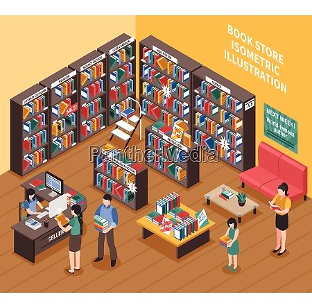 book shop interior isometric illustration of