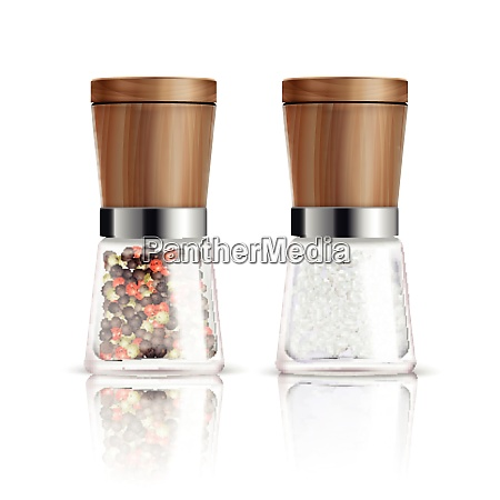 two isolated realistic salt and pepper