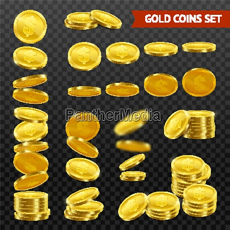 gold coins with dollar symbol collection