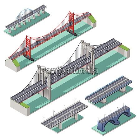 bridges isometric set above river bay