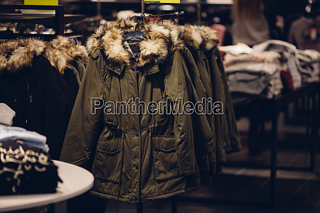 winter women clothes in clothing store