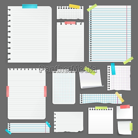 realistic blank paper sheets on different