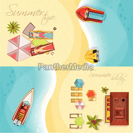 beach holiday horizontal banners top view