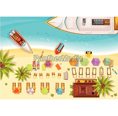 beach holiday composition top view including