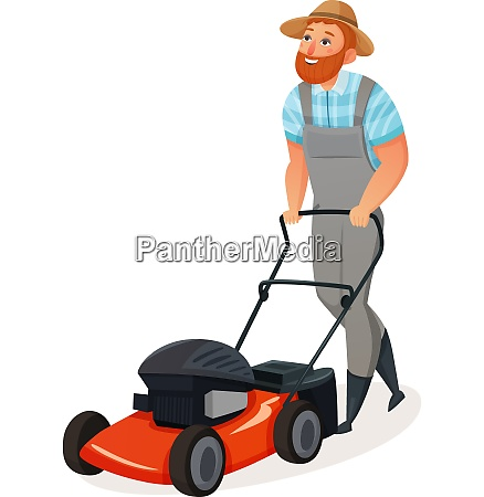 colored cartoon and isolated grass cutting