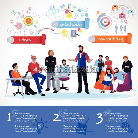 coworking infographics template with communication of