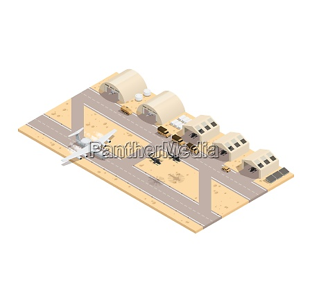 colored military isometric composition in beige