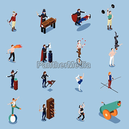 people from magic show isometric set