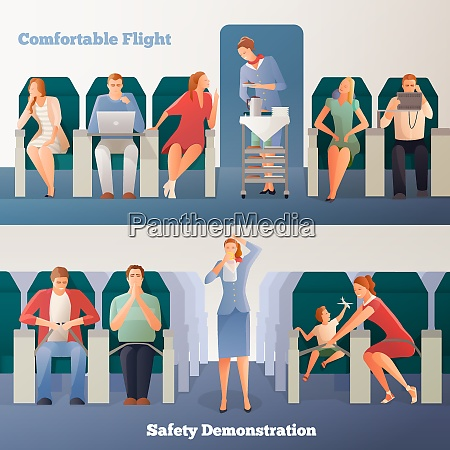 people in airplane horizontal banners with