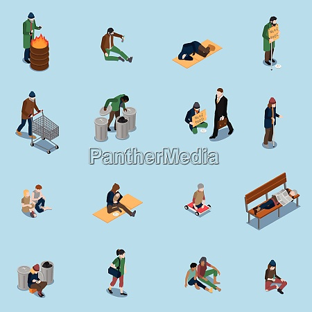 homeless people isometric set with beggars