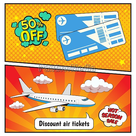 discount air tickets comic style banners