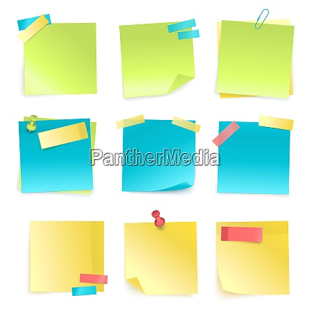set of colored isolated sticky notes