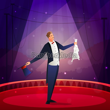 magic show composition with illusionist