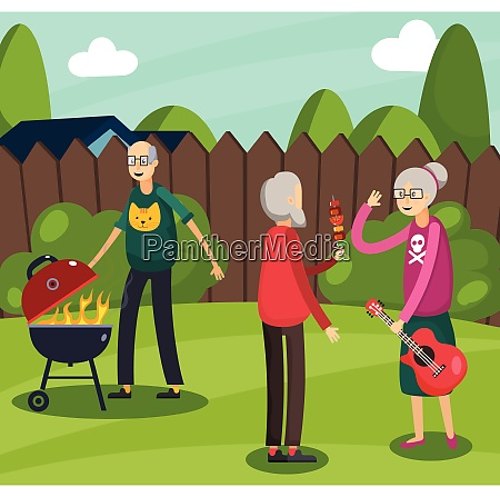 colored aged elderly people orthogonal composition