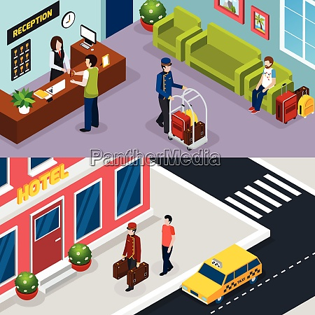 two horizontal hotel service isometric banner