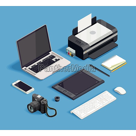 isometric set of tools for graphic