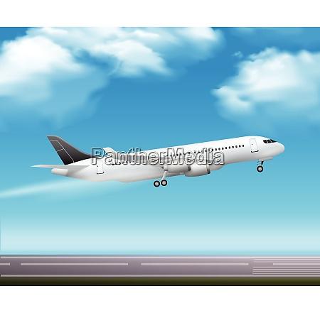 large modern passenger airliner jet takeoff