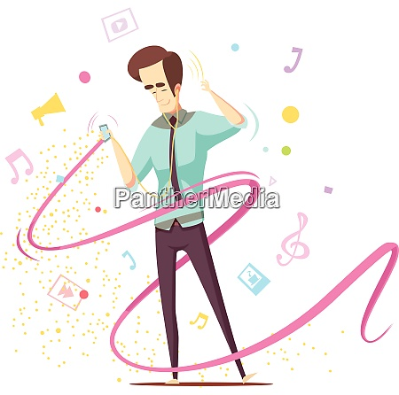 man listening music with earphones and