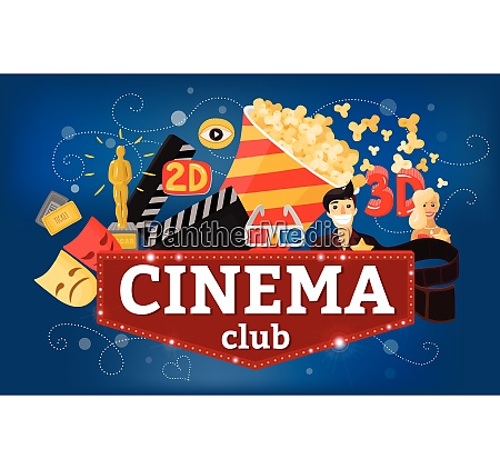 cinema movie background composition with doodle