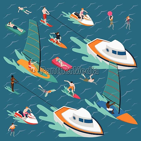 isometric water sports colored people composition