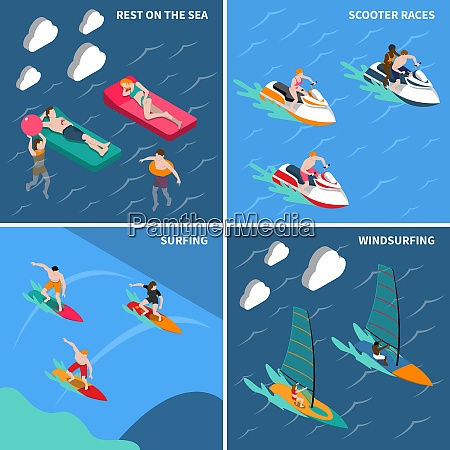 four squares water sports isometric people