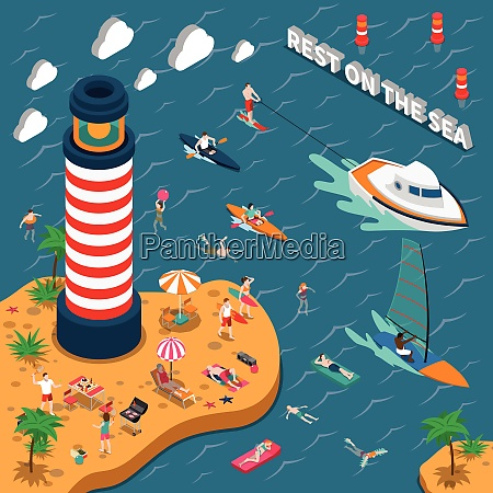 colored water sports isometric people poster