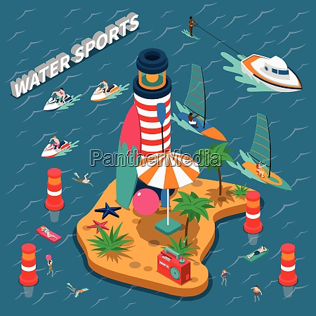 colored water sports isometric people composition