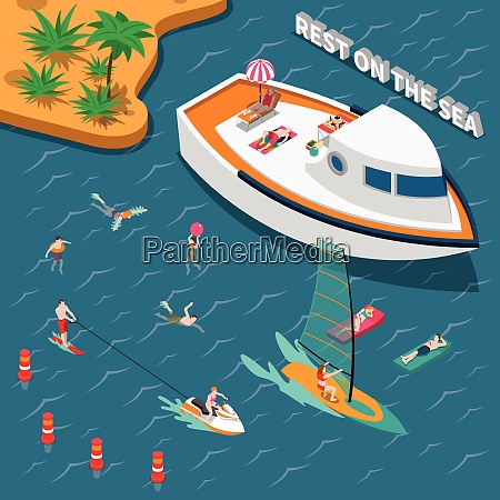colored water sports isometric people concept