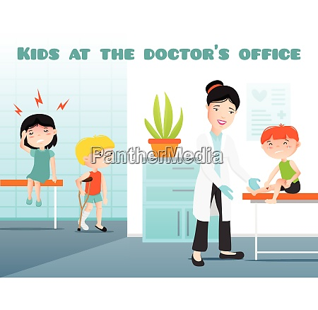 kids at doctors office cartoon vector