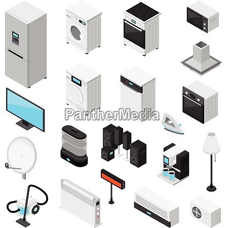 household appliances isometric set with iron