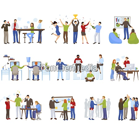 business teamwork icons set with coworking