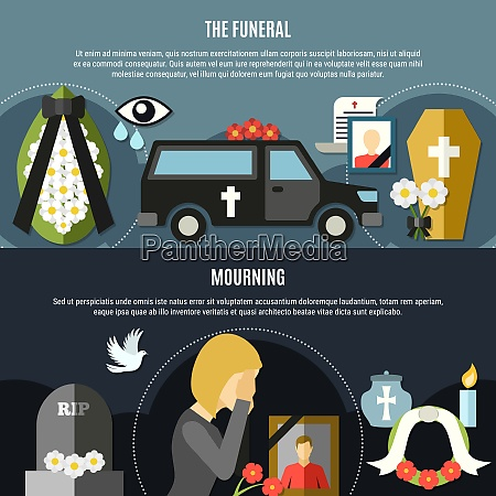 funeral and mourning horizontal banners set