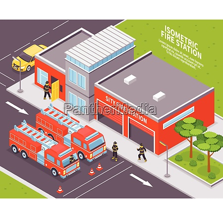 isometric fire department station with two