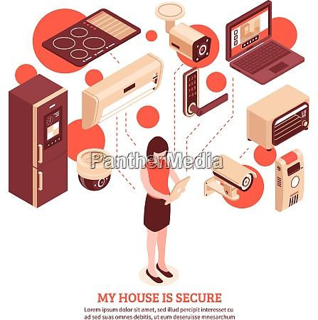colored isometric smart home concept with