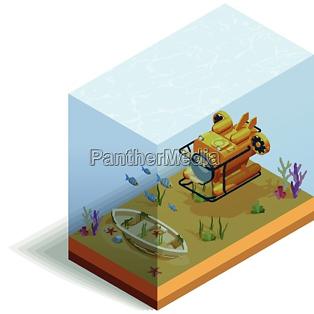scuba diving snorkelling isometric composition with