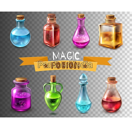 potion bottle transparent set of isolated