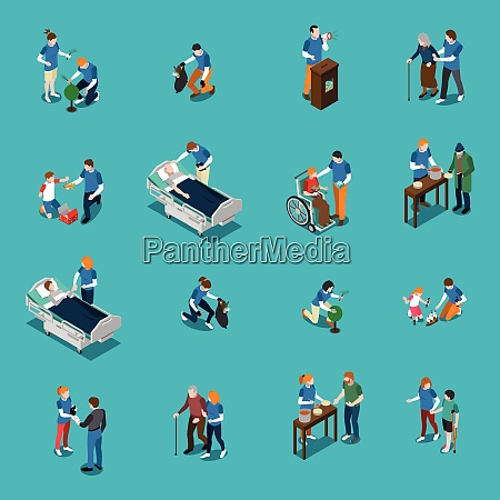 isolated volunteer charity isometric people icon